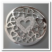 Coin C-03 - Multi Heart Center With CZ - Silver