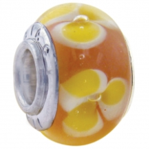 Geniune Designer Murano Glass Bead - Baby Pink with Yellow Flowers