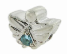 Silver CZ Angel - Birthstone Bead - Mar - Aquamarine