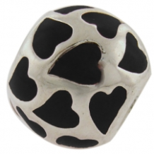 Enamel Bead - Heart Enamel Ball - Black