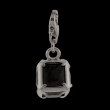 Silver  CZ Pendant Select Charm - Square with black CZ - NEW
