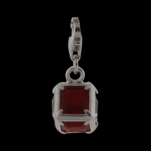 Silver  CZ Pendant Select Charm - Square with red CZ - NEW