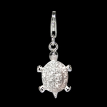 Silver Select CZ Charm - Turtle - Clear CZ
