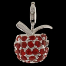 Silver Deluxe CZ Select Charm - Apple - Pave - dark red CZ
