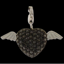 Silver Deluxe CZ Select Charm - Heart with Wings - Pave - black CZ