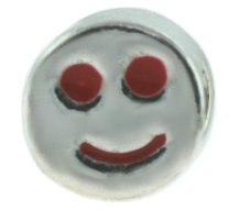 Enamel Bead - Smiley Face - Red