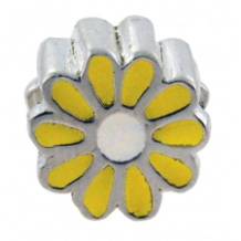 Enamel Bead - Daisy - Yellow & White