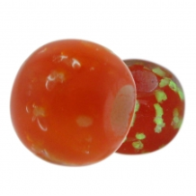 Glow in the Dark Glass Beads - Red Orange