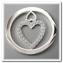 Coin C-14 - Double Heart With CZ - Silver
