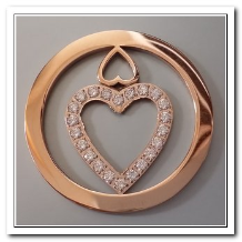 Coin C-15 - Double Heart With CZ - Rose Gold