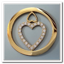 Coin C-16 - Double Heart With CZ - Yellow Gold