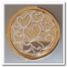 Coin C-46 - Multi Hearts - Yellow Gold Base - Silver