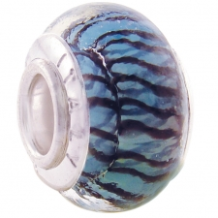 Geniune Designer Murano Glass Bead - Tiger - Turquoise and Black
