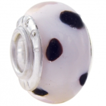 Geniune Designer Murano Glass Bead - African - Baby Pink and Black