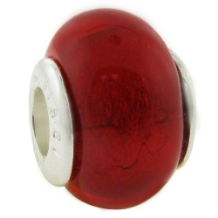 Glass Birthstone Bead with Silver Core - January - Garnet