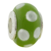 Glass Beads with Silver Core - Peridot with White Dots
