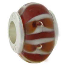 Glass Beads with Silver Core - Red with Stripes