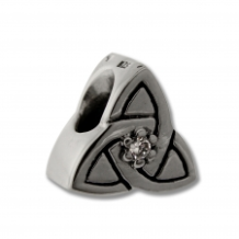 CZ Silver Bead - Celtic Knot