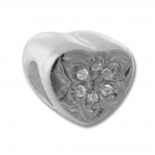 CZ Silver Bead - Heart with CZ Flower - Clear