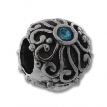 CZ Silver Bead - Ball with Swirl Sun Design - Aqua - New