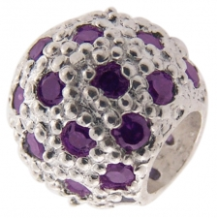 Pave CZ Bead - Ball with many CZs - Purple