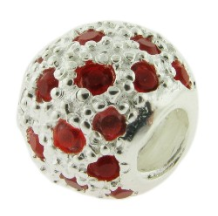 Pave CZ Bead - Ball with many CZs - Red