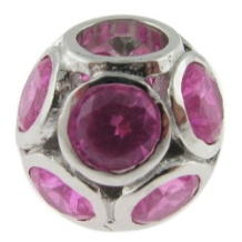 Pave CZ Bead -Sphere with many CZ's - Pink