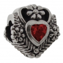 CZ Select Bead - Heart with Vines - Dark Red