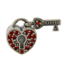 CZ Select Bead - CZ Heart Lock with Key - Red