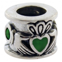 Enamel Bead - Claddagh Ring - Green