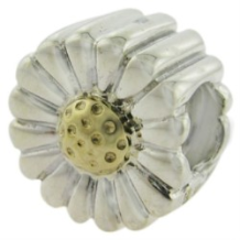 Two Tone Selects 10K Solid Gold & 925 Silver Bead - Sunflower