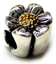 Two Tone Selects 10K Solid Gold & 925 Silver Bead - Daisy