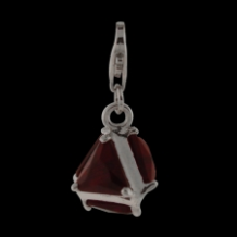 Silver  CZ Pendant Select Charm - Triangle with red CZ - NEW