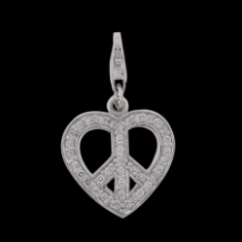 Silver Select CZ Charm - CZ Heart w/ Peace Sign - Clear CZ - NEW
