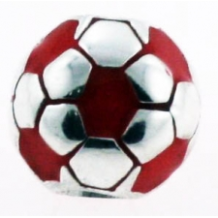 Enamel Bead - Soccer Ball - Red