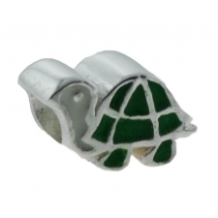 Enamel Bead - Turtle - Green