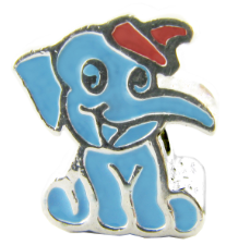 Enamel Bead - Elephant Blue w/ Hat