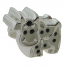 Enamel Bead - Cow - Black & White