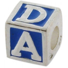 Enamel Bead - ABC Block - Blue