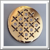 Coin C-07 - Cross Hatch With CZ - Yellow Gold