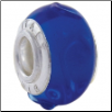 Geniune Designer Murano Glass Bead - 3D - Ocean Blue with S swirl