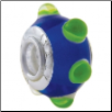 Geniune Designer Murano Glass Bead - 3D - Blue with Green Bumps