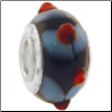 Geniune Designer Murano Glass Bead - 3D - Black with Blue Swirl & Red Bumps