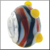 Geniune Designer Murano Glass Bead - 3D - Orange Swirl and Bumps