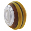 Geniune Designer Murano Glass Bead - 3D - Amber with Brown Spiral