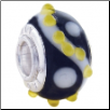 Geniune Designer Murano Glass Bead - 3D - Blk with Wh Swirl & yellow bumps