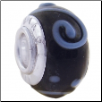 Geniune Designer Murano Glass Bead - 3D - Black with Blue Dots & Swirls