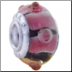 Geniune Designer Murano Glass Bead - 3D - Purple with White Stripes & Bumps