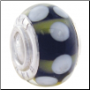 Geniune Designer Murano Glass Bead - Black with Avacado Stripes & White Dots