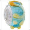 Geniune Designer Murano Glass Bead - 3D - with Tan Swirls & Dots